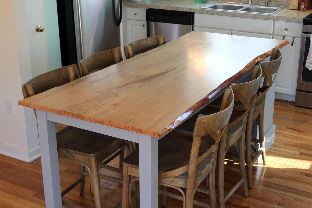 custom live edge maple kitchen island mid century modern furniture Sallie Plumley Studio Richmond Virginia Sally Plumley Custom Woodworking and Furniture Design