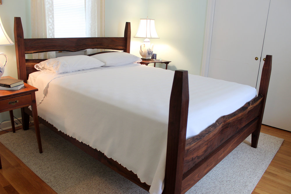 custom live edge walnut bed mid century modern furniture Sallie Plumley Studio Richmond Virginia Sally Plumley Custom Woodworking and Furniture Design