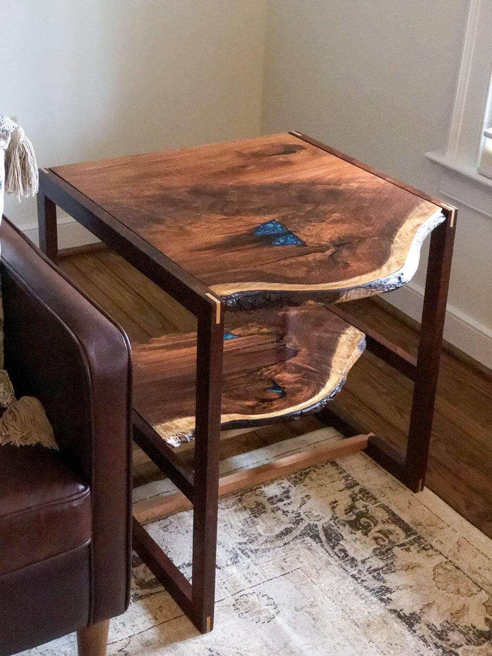 Custom Live Edge Walnut Side Table Sallie Plumley Studio Richmond Virginia Sally Plumley