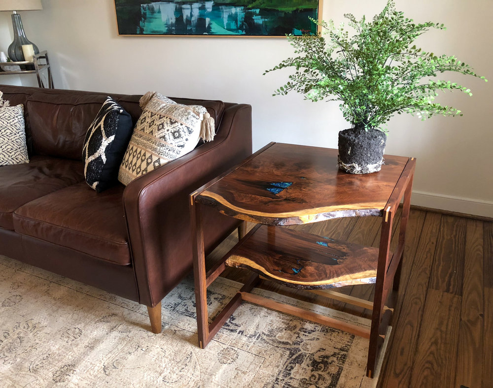 Custom Live Edge Walnut Side table with epoxy inlay