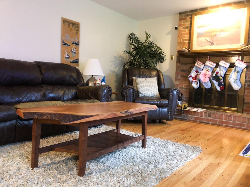 Custom Live Edge Cherry Coffee Table Family Friendly FurnitureSallie Plumley Studio Richmond Virginia Sally Plumley