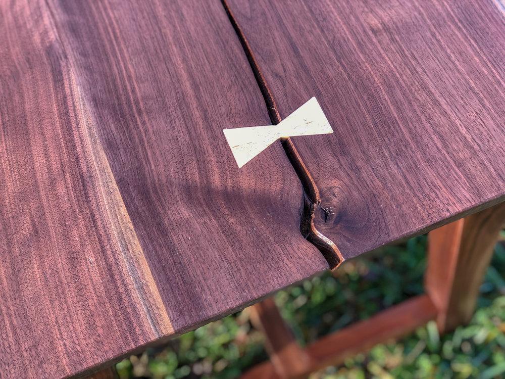Custom Walnut Dining Bench with bow tie joinery Sallie Plumley Studio Richmond Virginia Sally Plumley