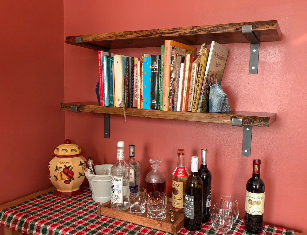 custom live edge walnut wooden shelves