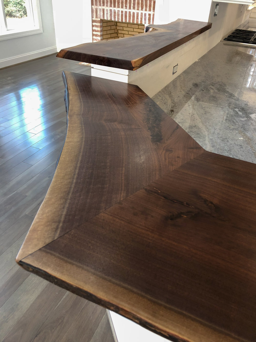 Live Edge Walnut Bar Top Hardwood Kitchen Island Live Edge Mantle Crab Point Sallie Plumley Studio Richmond Virginia Sally Plumley