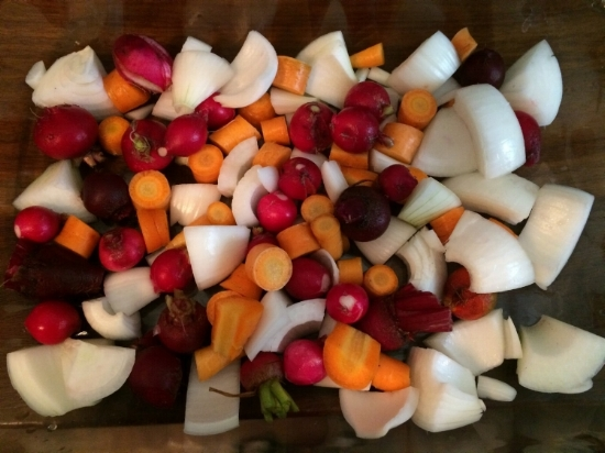 Roasted Root Vegetables...radishes, onions, beets and carrots.  The larger veggies we quarter or cut into smaller pieces.  Toss in olive oil and kosher salt and roast covered until fork tender.  About 45min to 1 hr on 425' oven.