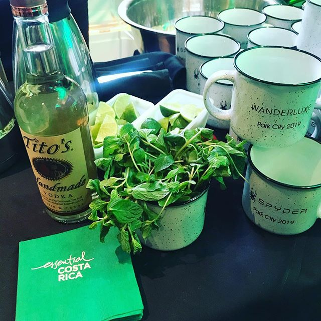 Guests during our #ApresSki happy hours enjoyed @titosvodka custom concoctions such as grapefruit mules in custom @spyderactive mugs.  Was the perfect escape from the cold nestled in our @visit_costarica tropical pop up setting. #titosvodka #essentialcostarica #wanderluxxewithus