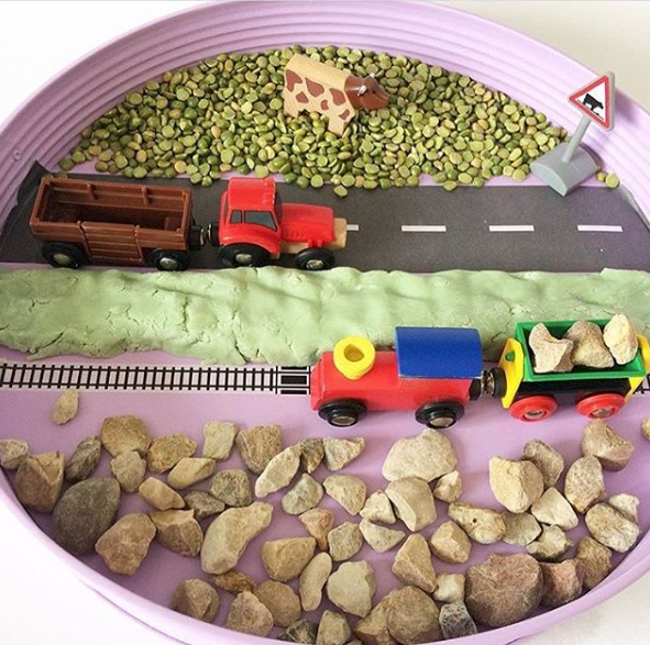 Small World - Check out this cutest train track small world. The variety of textures will make for wonderful sounds and smells as you play too!@hummingbirdsatplay
