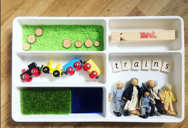 Cutlery Train - This mini cutlery tray train world is a great way to spark little ones imaginations to play.@mama.smith.to2