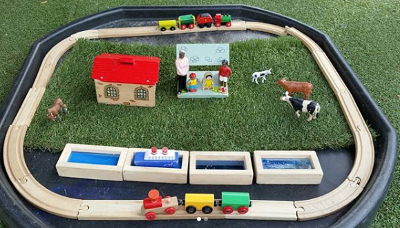 SensoryStory - This sensory story tuff tray set up for The Train Ride is so beautifully put together! Retell the story using the props and sensory toys to check your little one's understanding.@hollysensoryplay