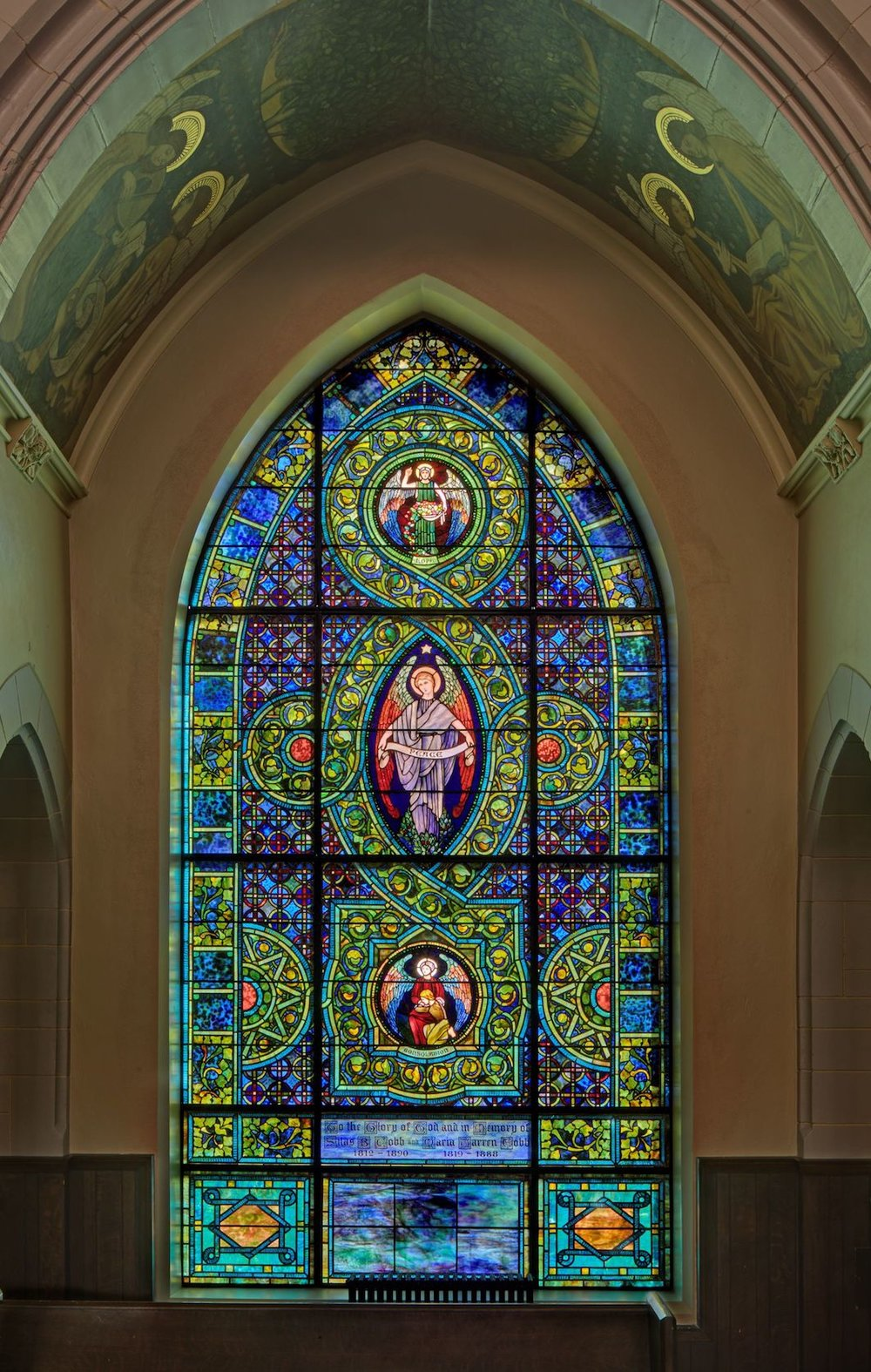 Restored 1903 Tiffany Peace Window Photo credit: Mark F. Heffron