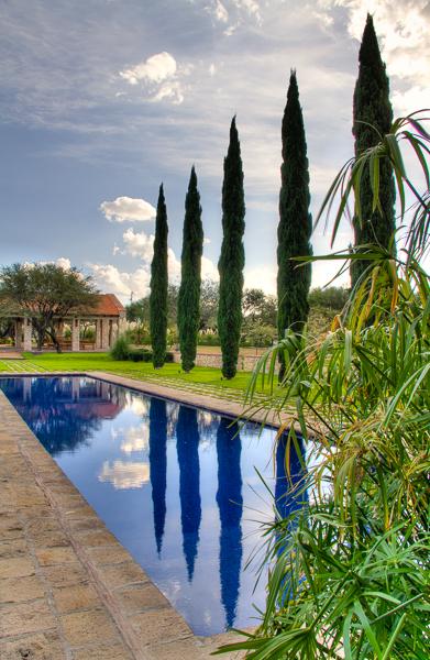 La alberca y su jardín con vista a la pérgola