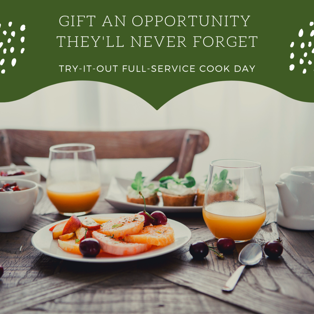 An opportunity for a one-time run through of a full-service cook day. This gives the family a chance to see what having a personal chef feels and looks like. Included in this service is menu planning, grocery shopping, meal prep, cooking, packaging, and clean-up. Basically, the family will come home to a fridge full of ready-to-eat food, without the mess! The try-it-out service is $275 and includes 3 meals.