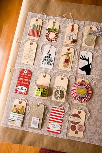 Not ready to wrap but want to partake in the festivities? - Create elaborate gift tags using the same materials and methods, go home with a roll of kraft paper, and wrap later when you are ready.