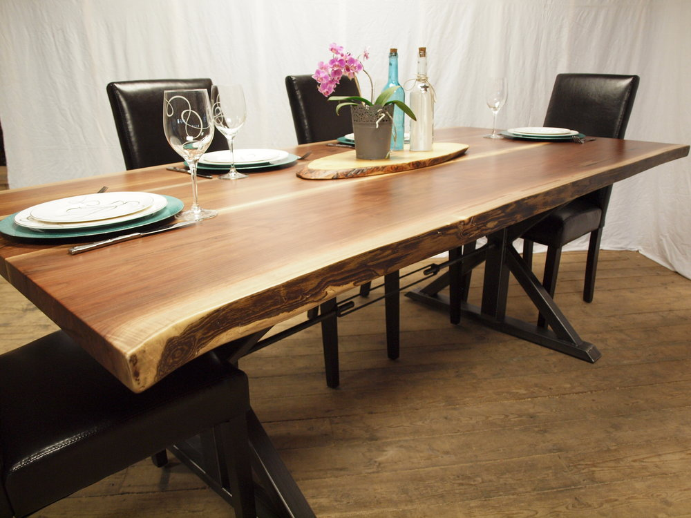 LIVE EDGE Black Walnut TABLE - A handcrafted table with beautiful live edges.