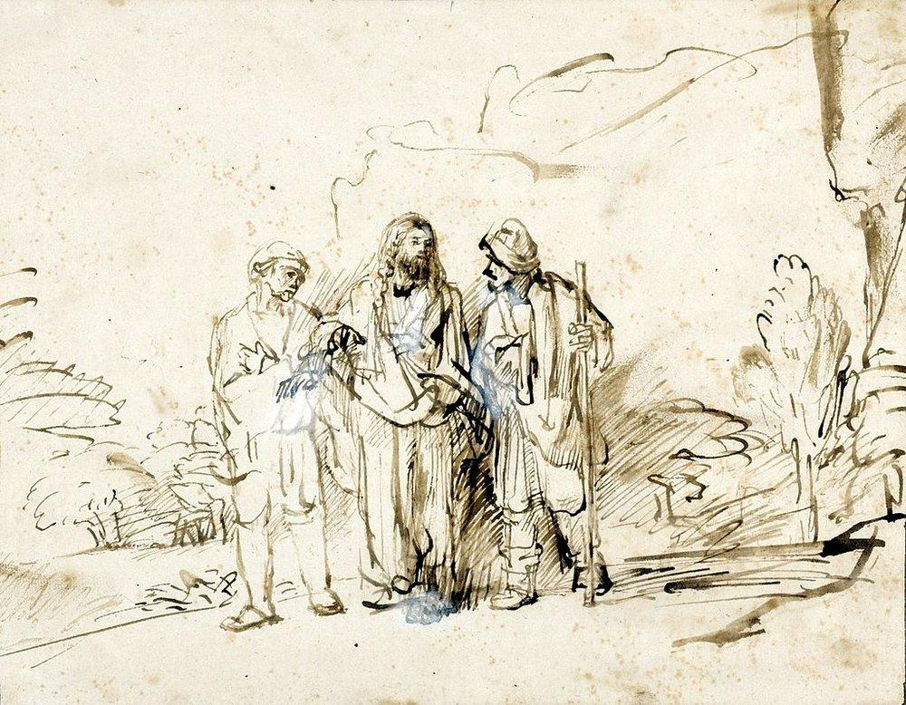 Rembrandt,  Le Christ avec deux disciples sur la route d'Emmaüs , encre et lavis sur papier, c. 1655, bibliothèque de l'université de Varsovie.