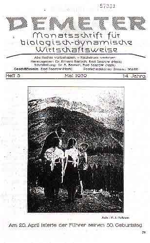 Couverture du mensuel  Demeter  de Mai 1939.