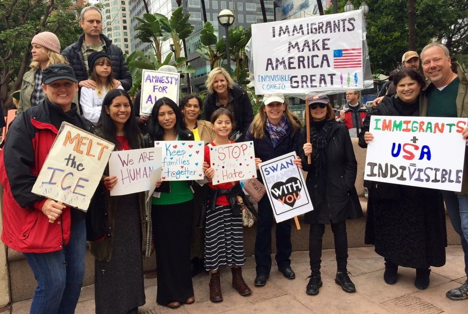 SWAN Sisters & friends from Indivisible : Conejo at Immigration Rights March. Pershing Square, Downton Los Angeles. Saturday February 18, 2017
