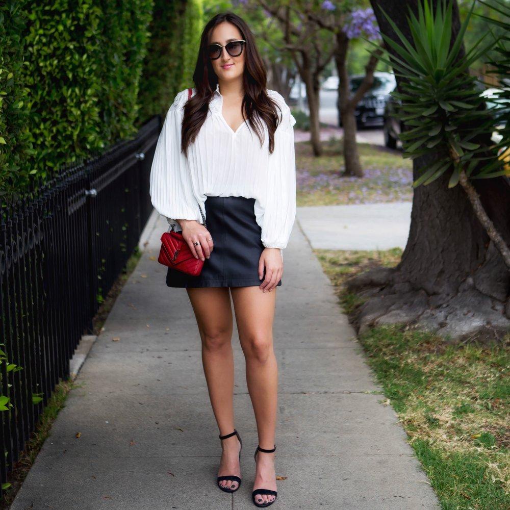 Top ,  Skirt ,  Shoes ,  Bag ,  Sunglasses