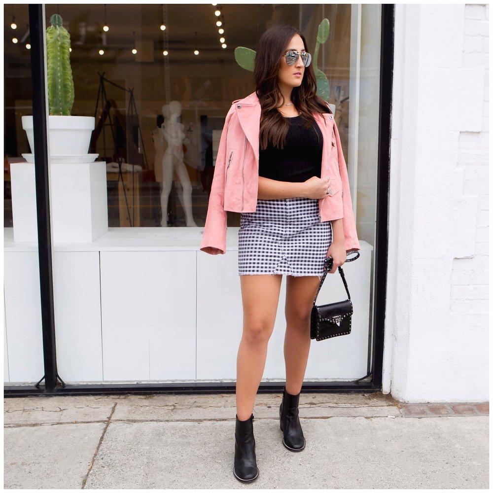 Jacket ,  Skirt ,  Bag ,  Boots,  Sunglasses ,