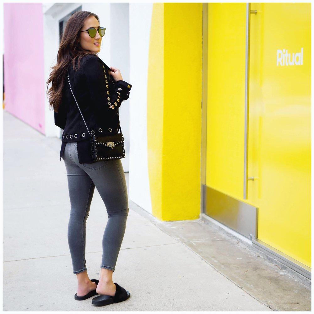 Jeans ,  Jacket ,  Slides ,  Bag ,  Sunglasses