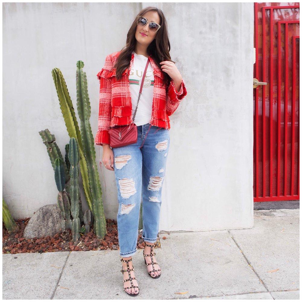 Jacket ,  shirt ,  jeans ,  shoes ,  bag ,  sunglasses