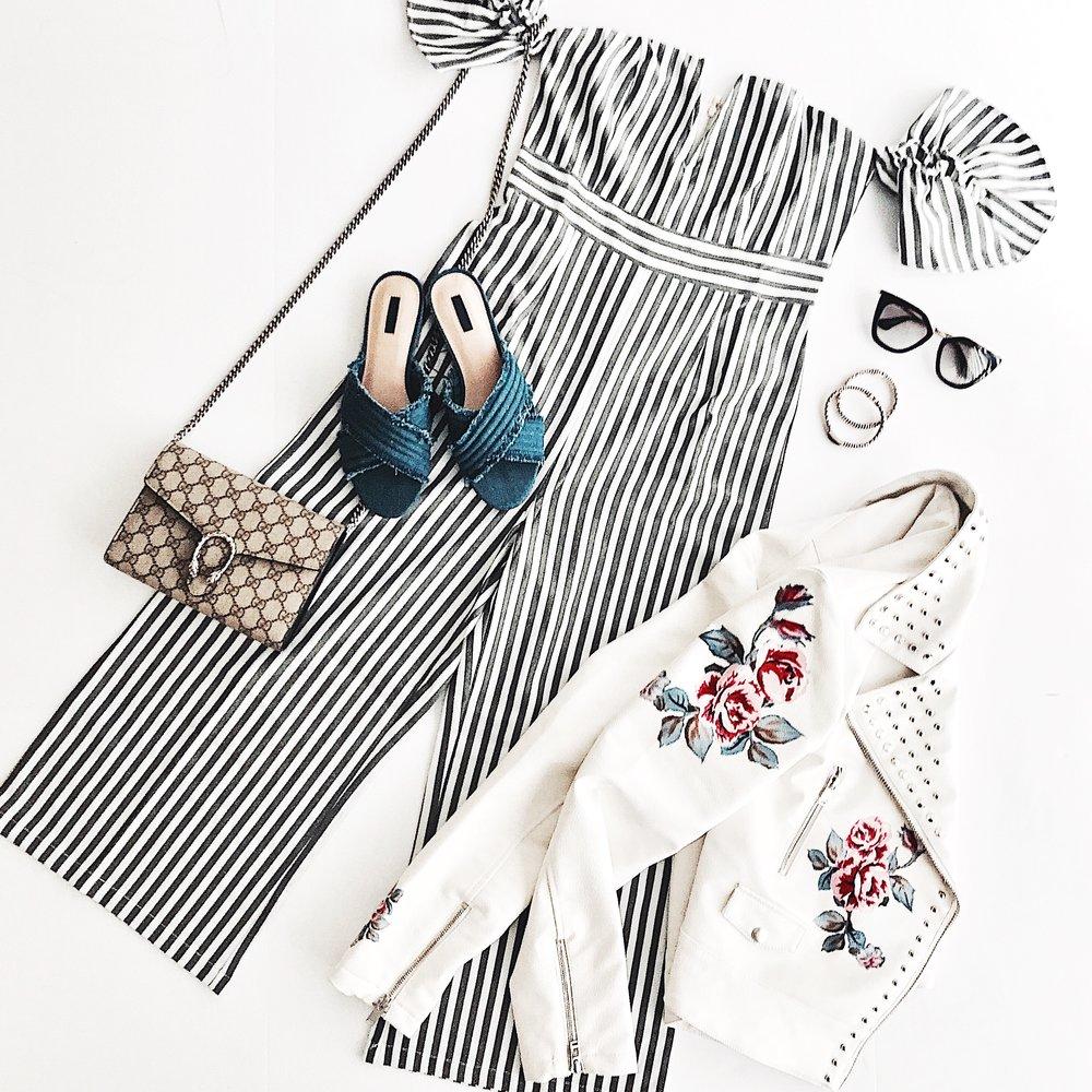 Jumpsuit ,  Jacket ,  Shoes ,  Bag ,  Sunglasses
