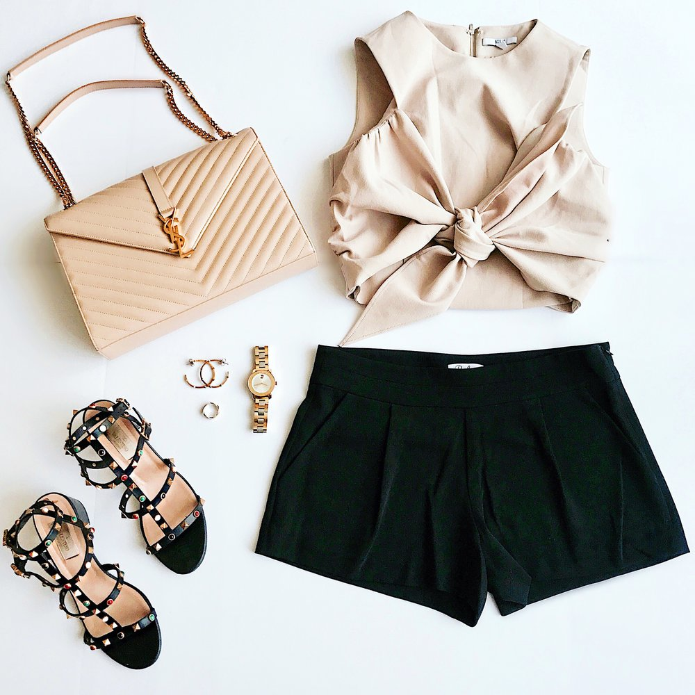 Bag ,  Sandals  (similar style),  Watch ,  Earrings ,  Top  (older, but love this one equally as much),  Shorts