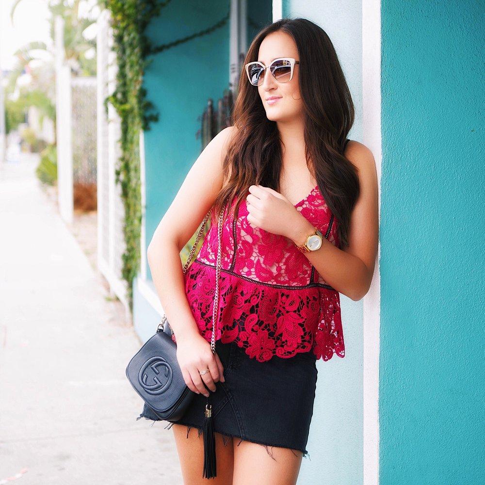 Top  (similar),  Skirt ,  Bag  (similar),  Sunglasses ,