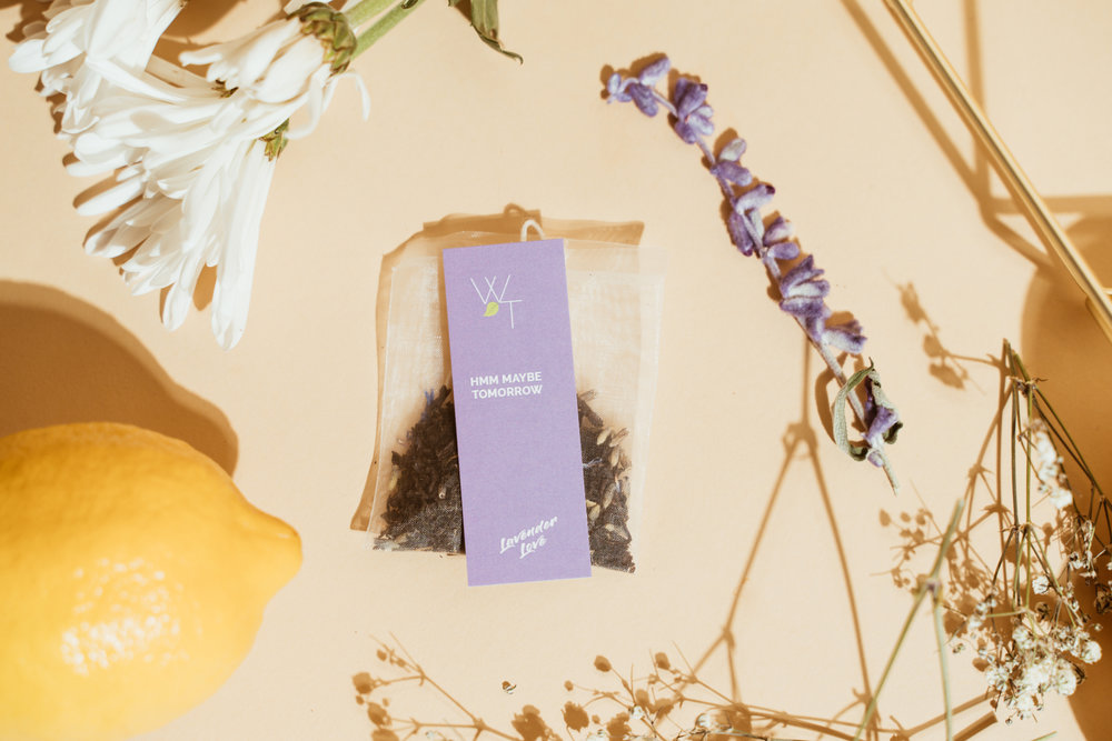 "Lavender Love Tea Bag with quote ""Hmm Maybe Tomorrow"""