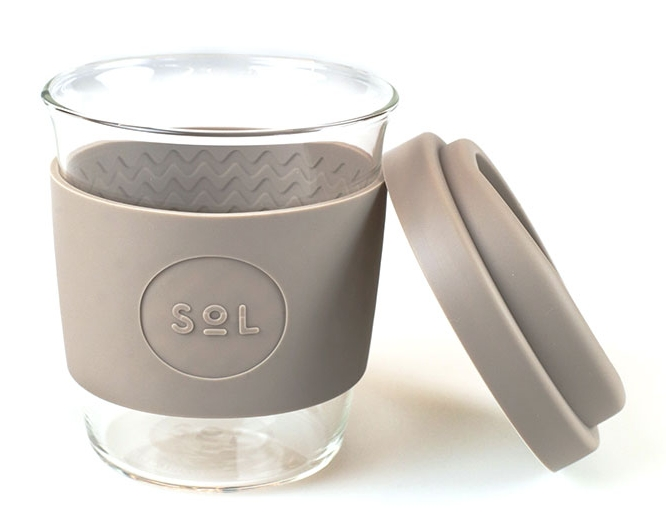 SOL Cups - Hand blown glass with interchangeable coloured sleeve & lid.