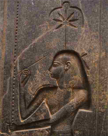 "2800 BC - Egyptian Goddess Sheshat (""the Goddess who measures"") depicted with a Hemp leaf above her head - records indicate Hemp was used for making measuring ropes in building construction."