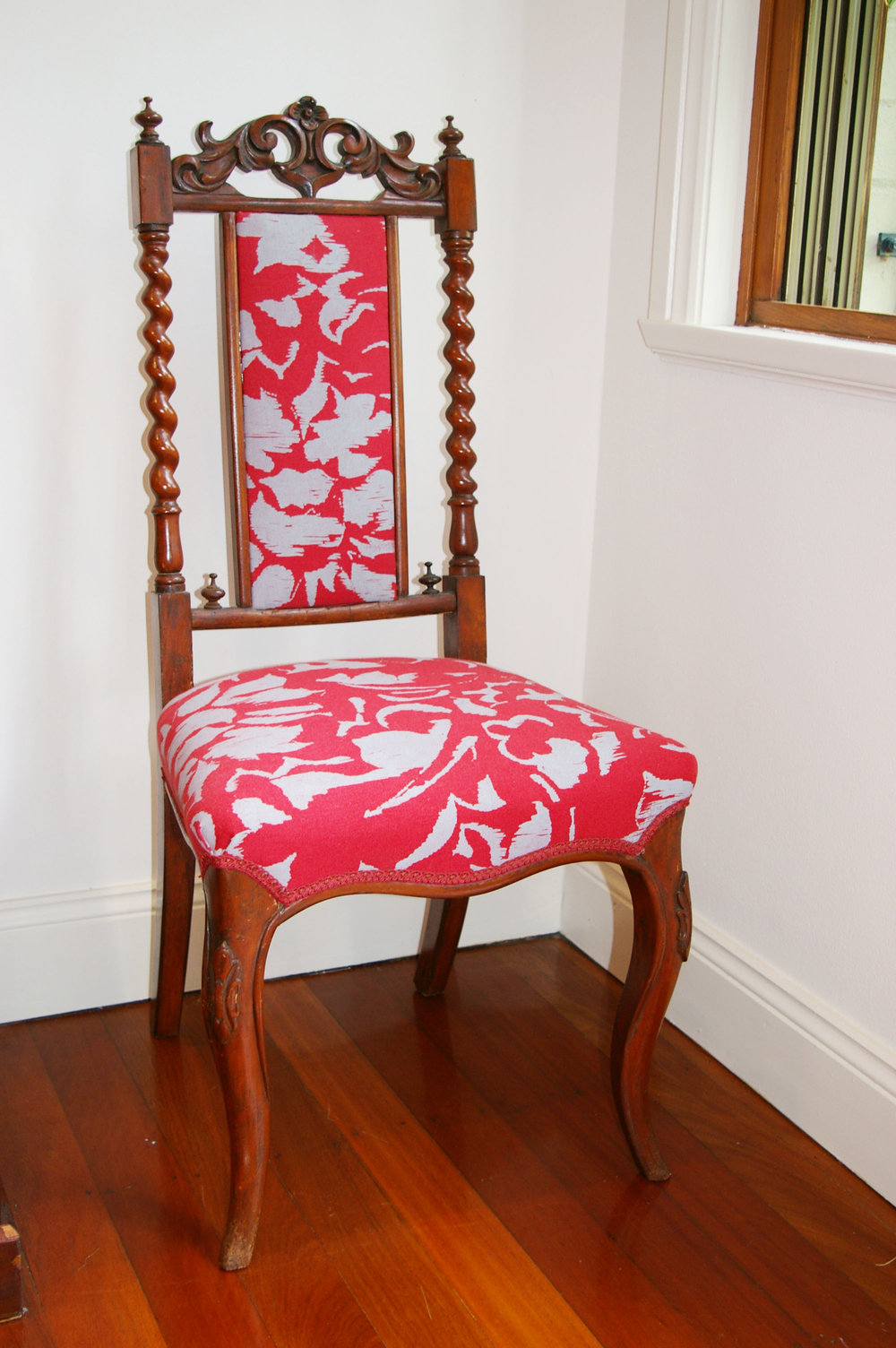 Damask Screenprint on Newport Berry fabric