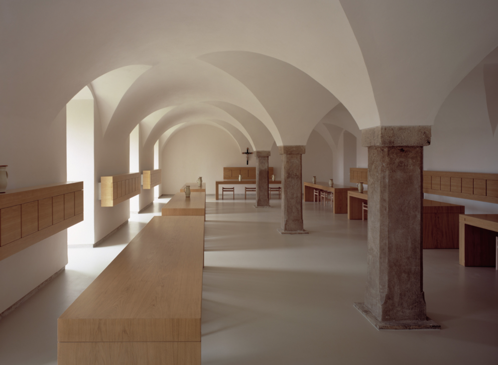 SIGHT/ JOHN PAWSON - I discovered John Pawson in a naïve, impressionable phase of my late teens. I had little predispositions of what was deemed 'good' or 'bad' in terms of architecture and taste. But when I saw the images of the Abbey of Our Lady of Nový Dvur I felt the space. I could image what it felt like to interact with the cloistered halls and lastly felt the need to one day stand in them. I had never heard of him before and had never seen anything like them on the usual pile of coffeetable-laden shelter magazines. My first experience was a pure attraction as much as his work contemplates the purity of lines. As I have studied, observed and experienced more contemporary dwellings I still reminisce on the day I discovered the Abbey of Our Lady of Nový Dvur. Although we shouldn't base all of our tastes on others opinions- we also shouldn't abandon that intrinsic, gut instinct.-Carrie, Interior Stylist at Prospect Refuge