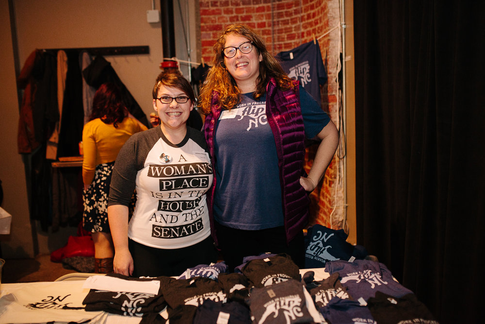 Wilma Metcalf and Laura at FLIP NC's Turn Up, Turn Out launch party back in January