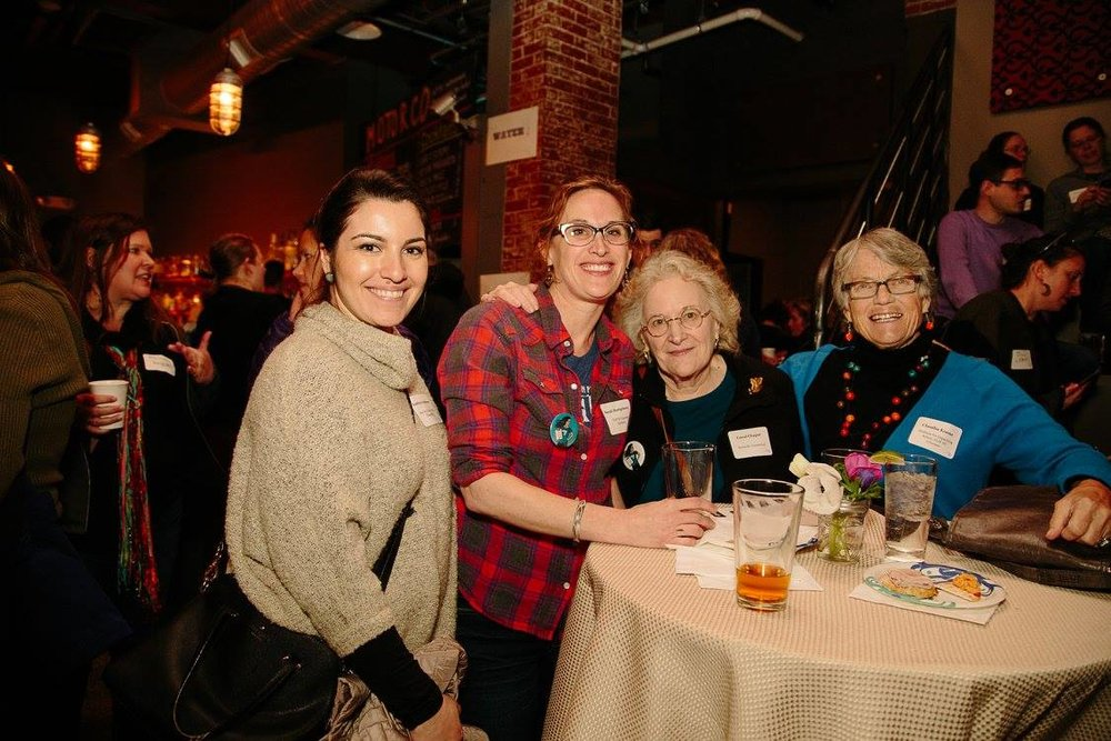 Claudia (far right) with fellow FLIPsters at our 2018 launch party at Motorco.