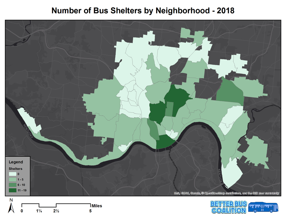 Most bus shelters are concentrated Downtown and Uptown, but neighborhoods with low ridership tend to have more shelters than those with high ridership. Some of the highest ridership neighborhoods have no bus shelters at all