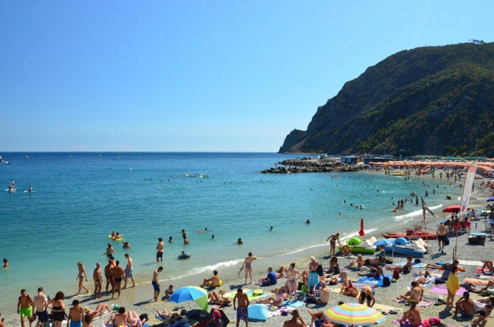 Crowded, rocky shores of Monterosso al Mare.