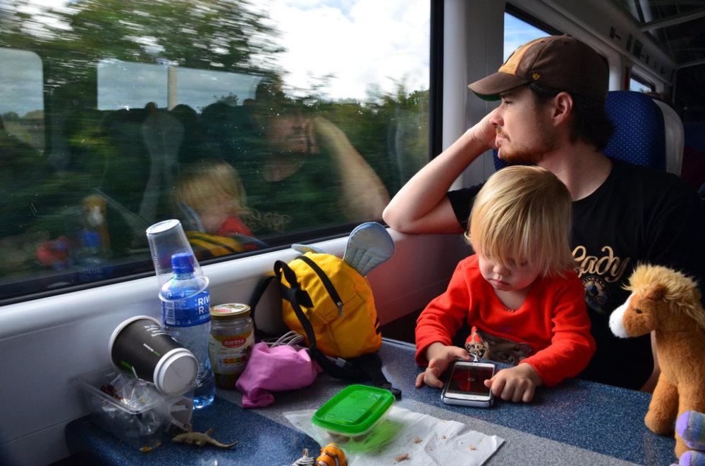 Riding Irish Rail through the Irish countryside.