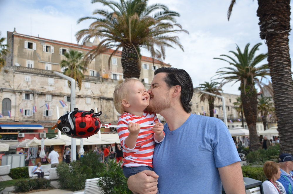 Matt & Kai on the promenade in Split, Croatia.