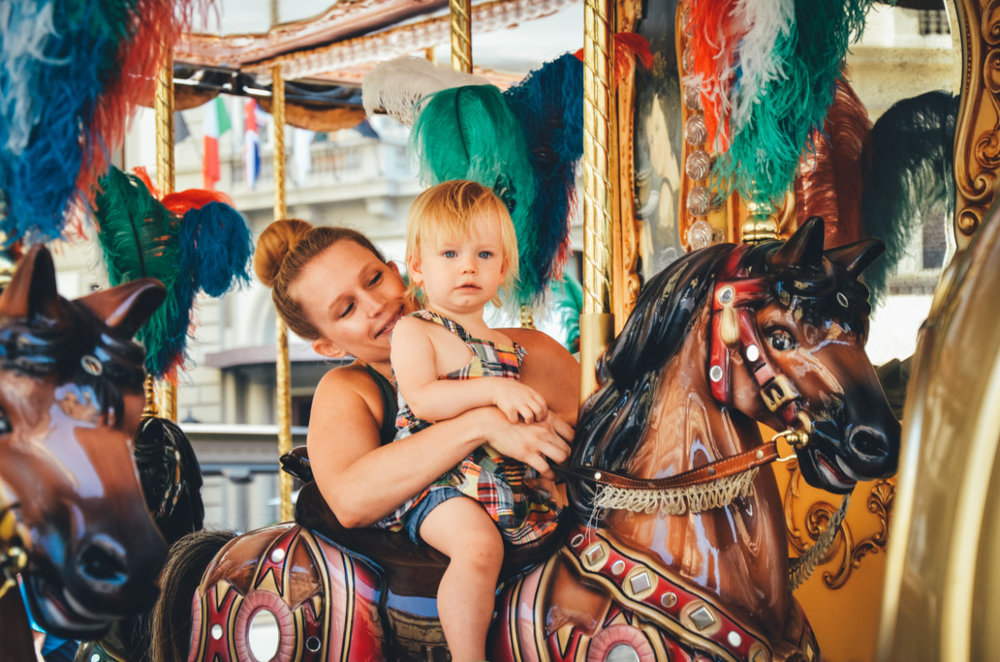 Stopping to ride the carousel, just because.