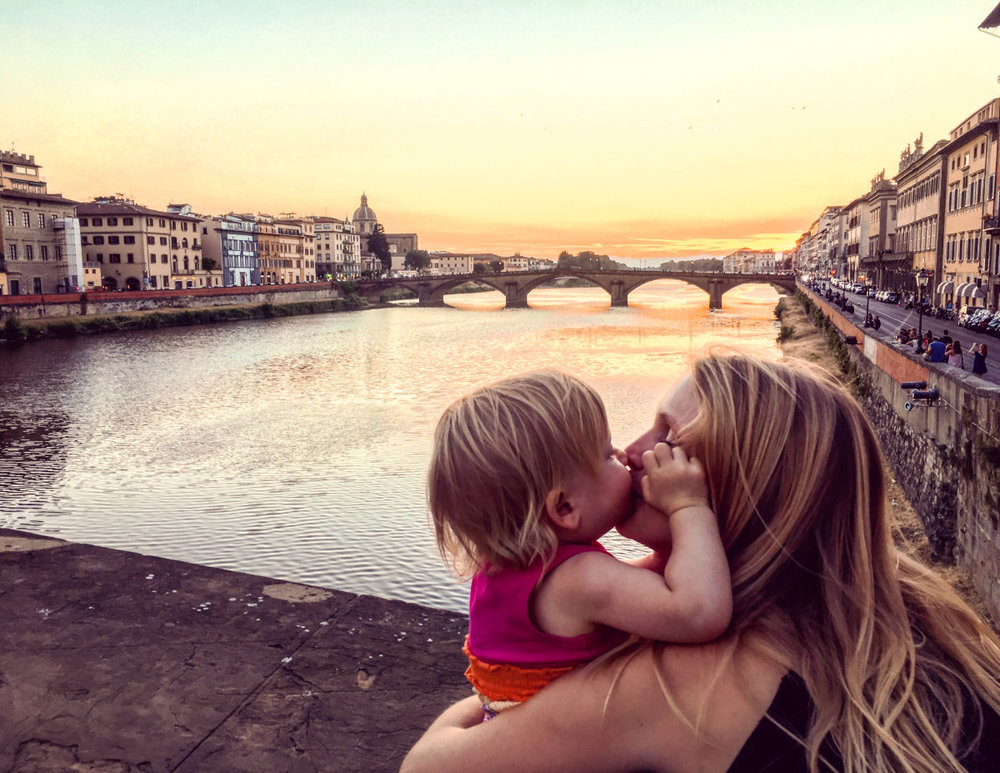 Sunset on the Ponte Vecchio with Kailen and my wife, Chelsea,on our first day in Florence.
