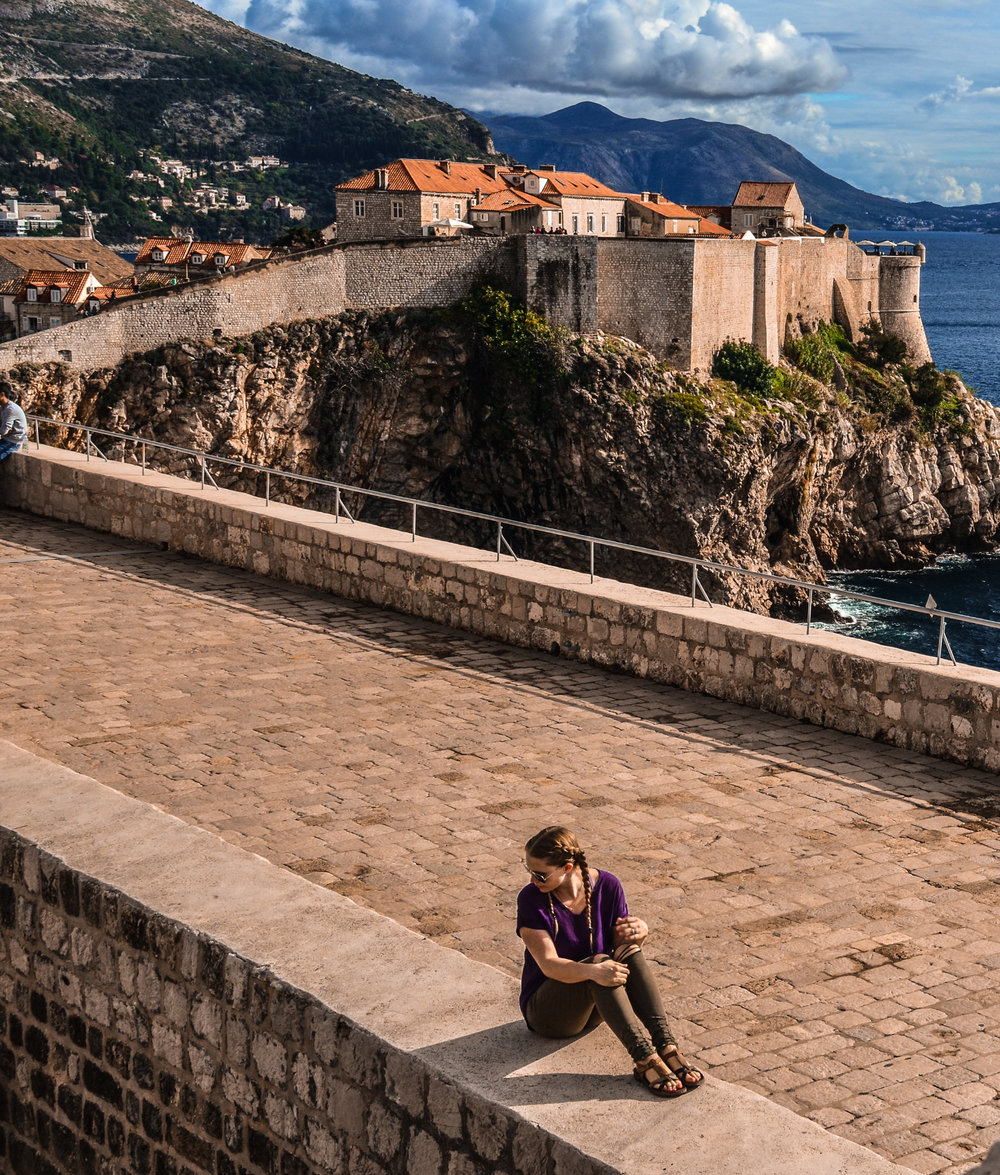Chelsea gawking at the ancient fortified walls in Dubrovnik, Croatia.