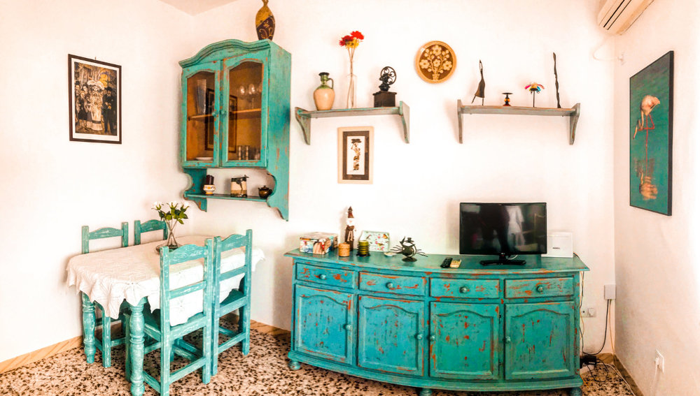 Our 3-bedroom flat in Sevilla, Spain during the off-season cost $1,100 USD for the month.