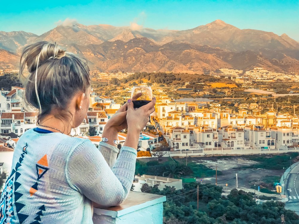 For $80 USD per night, we found a last-minute private room and bath in a hostel in Nerja, Spain.