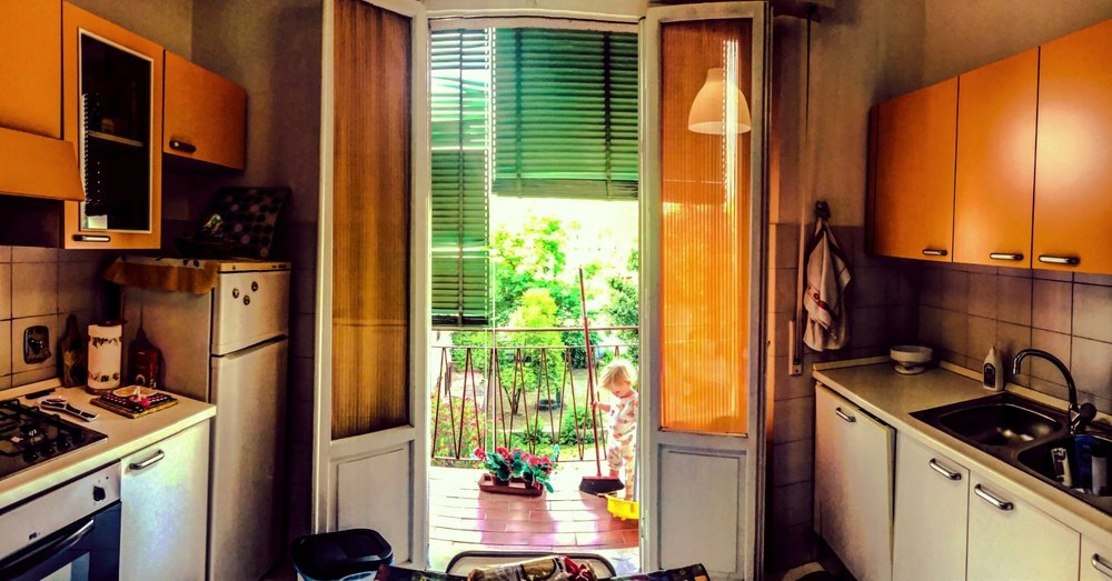Our first flat in Florence, Italy located at the end of the city bus line in Coverciano was $980 USD for two very spacious bedrooms.