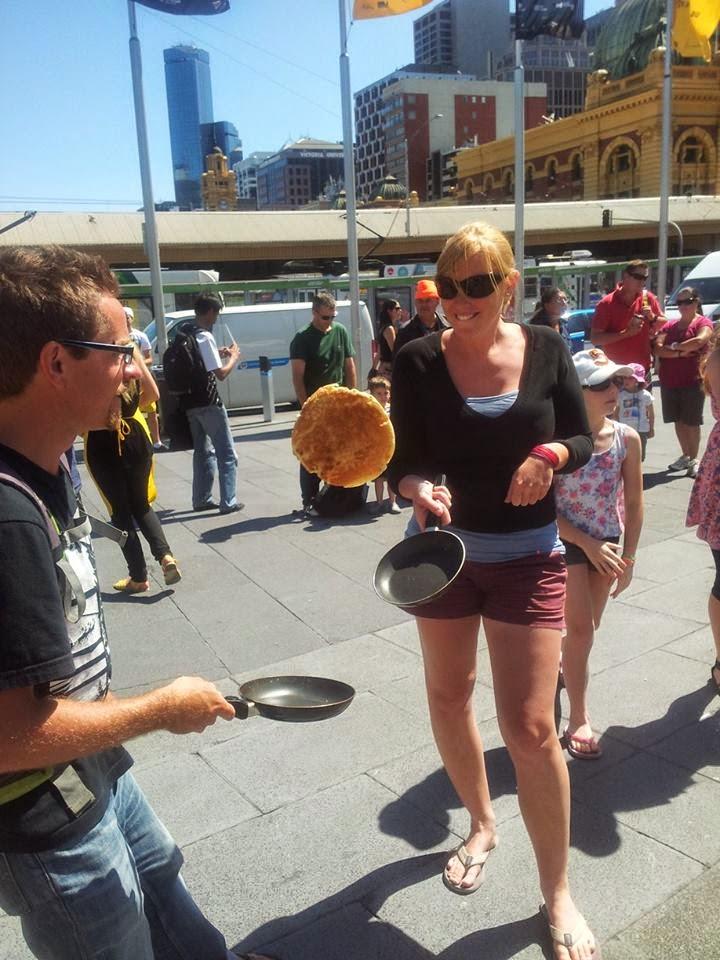 Pancake flipping competition, Federation Square.  Images Oli & Ma Lou.