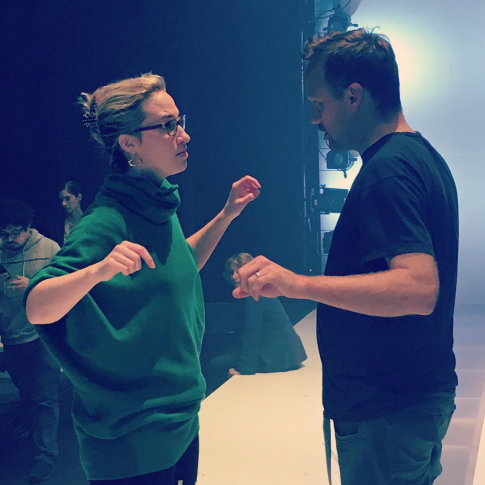 Emily working with Andrew Smith (lx designer) on CORIOLANUS: FIGHT LIKE A BITCH.