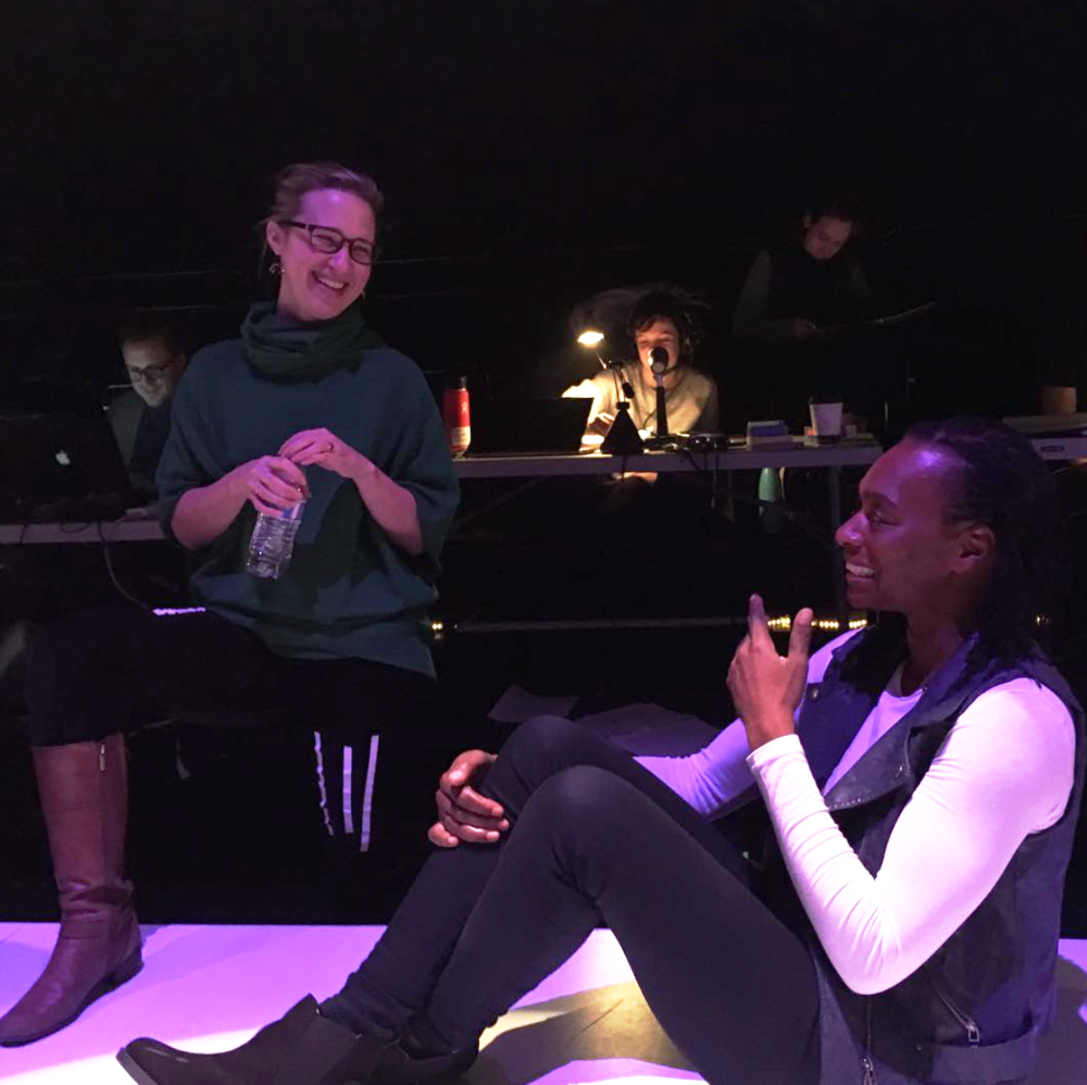Emily working with lead actor, Nike Iromu, in tech for CORIOLANUS: FIGHT LIKE A BITCH