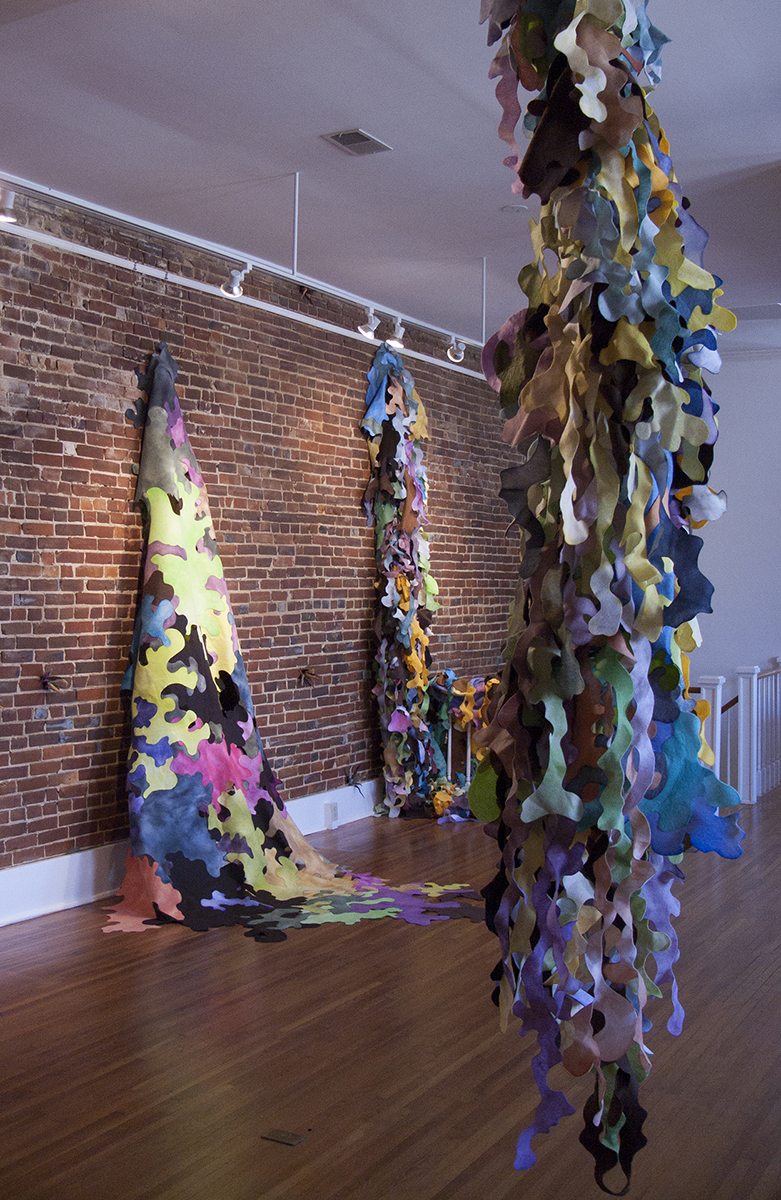 Accumulation, 2014, mixed media, 13' x 55' x 15'. Site-specific installation at 505 Union, Jonesboro, AR