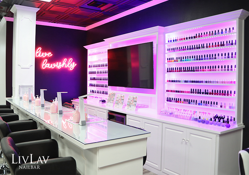 The Final Design Is A Nail Bar That Contemporary And High Drama Showcasing Diamond Curtain Walls Plush Seating Neon